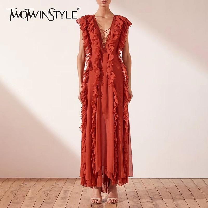 TWOTWINSTYLE Summer Sleeveless Ruffles For Women Off Shoulder V Neck High Waist Slim Maxi Beach Dresses