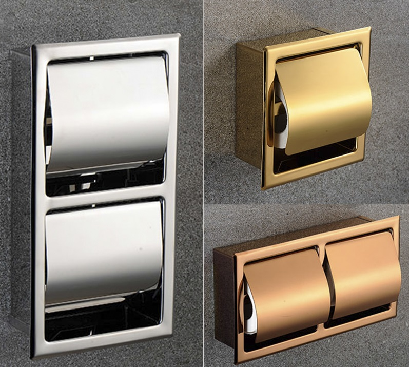 Premintehdw 304 Stainless Steel Polished Wall Recessed Built-in Toilet Paper Holder Public Hotel Rose Gold Concealed Roll Tissue