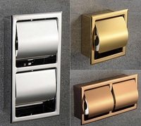Premintehdw 304 Stainless Steel Polished Wall Recessed Built in Toilet Paper Holder Public Hotel Rose Gold Concealed roll tissue