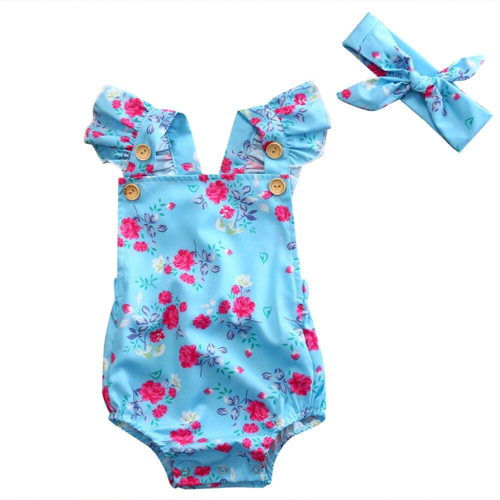 Cotton baby kids girls rompers floral summer sleeveless kid girl clothing romper+headband 2pcs