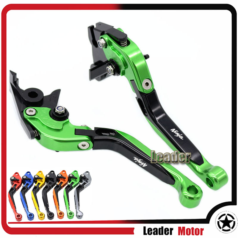 ФОТО For KAWASAKI ZX6R/ZX636R/ZX6RR ZX10R Z1000 VERSYS 1000 ZZR600 ZX9R ZX12R Motorcycle Folding Extendable Brake Clutch Levers Green