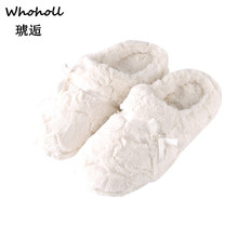 Whoholl Woman Soft Furry Slipper Women Flat Sandals Shoes Winter Warm House Slippers Indoor Bedroom Lovers Couples Floor