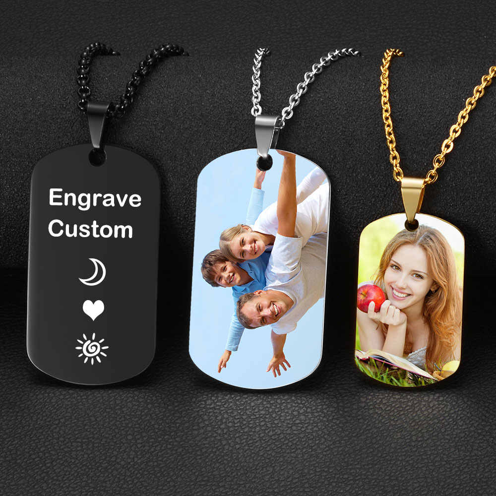 Customized Necklace Front Engraved Full Color UV Photo Back Engraved Name Dog Tag Pendant Necklace for Men & Women Gift Bijoux