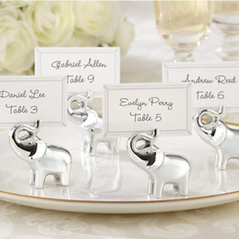 Silver Baby Elephant Place Card Holder Table Number Photo Storage Clip For Wedding Party Table Decorations Supplies Favors Gifts image