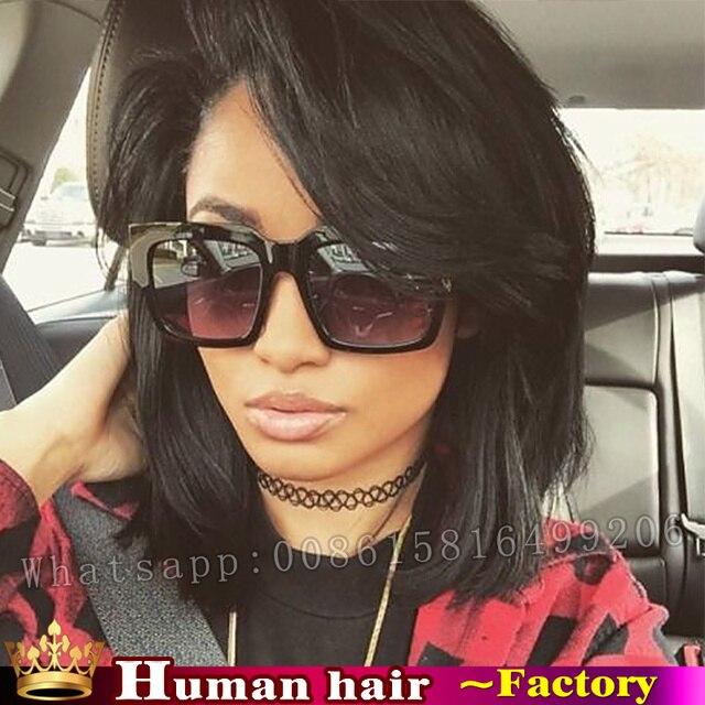Кружева перед Круглый Верхнее Закрытие Парики Клип в 100% Реальные Человеческие волосы Remy Бразильский парик парики для чернокожих женщин с бахромой волос