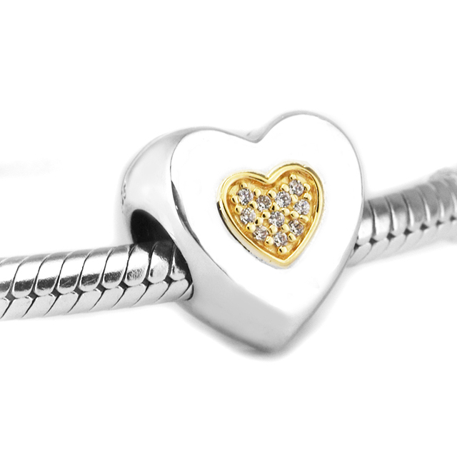 e3f78cf57 Fits For Pandora Bracelets Signature Heart Charms with 14K Real Gold 100%  925 Sterling-