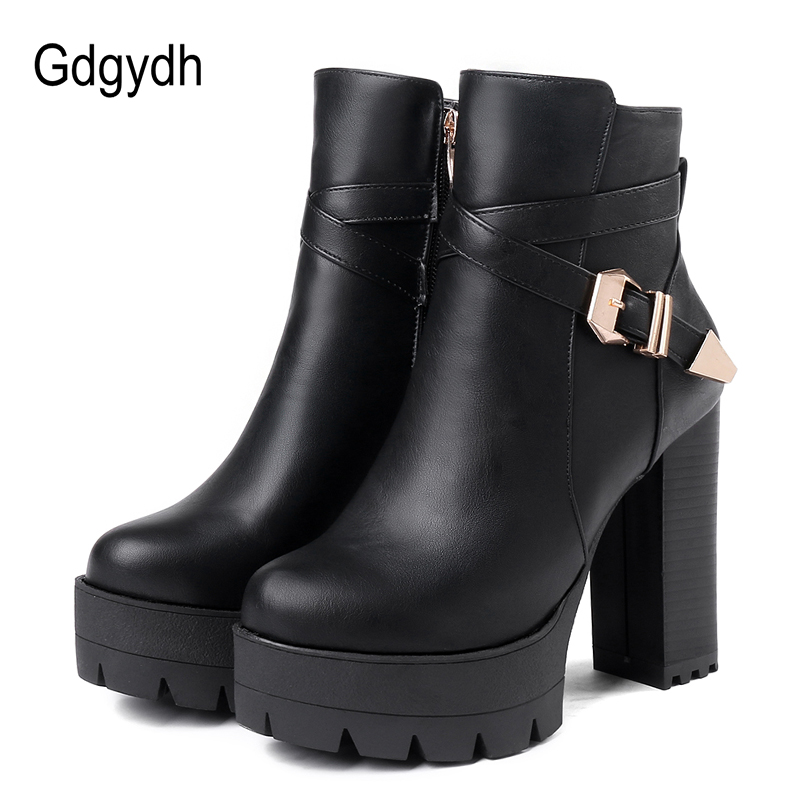 Gdgydh Sping Autumn Platform Ankle Boots Woman Black Leather Shoes Female High Heels Boots Ladies Shoes