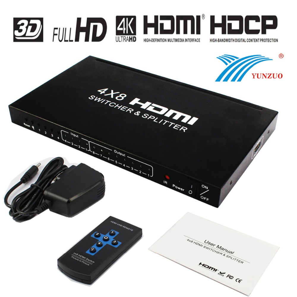 HDMI Matrice 4x8 séparateur HDMI 1.4 version HDMI Switcher avec Résolution à 4 K * 2 K soutien 3D 1080P @ 60Hz + À Distance + adaptateur secteur