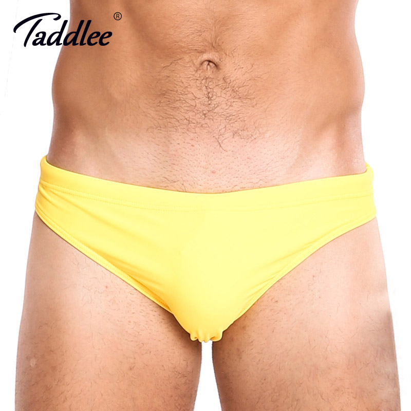 Taddlee Brand Sexy Men's Swimwear Swimsuits Gay Penis Pouch Solid Yellow Low Rise Swim Briefs Bikini Men Bathing Suits Swimming