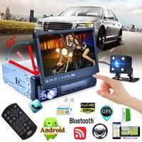 7 дюймов четырехъядерный Android 6.0 Системы автомобиля MP5 плеер GPS навигации 3 г Wi Fi AM FM RDS Радио функция автоматическая выдвижная Экран