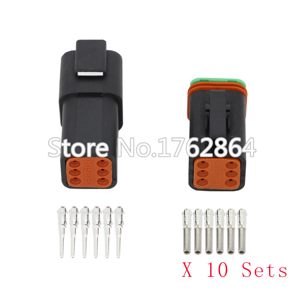 Black 10 Sets DJ3061Y-1.6-11/21 Deutsch Connectors 6 Pin DT04-6P/DT06-6S waterproof wire electrical connector plug 22-16AWG black 50 sets 4 pin dj3041y 1 6 11 21 deutsch connectors dt04 4p dt06 4s automobile waterproof wire electrical connector plug