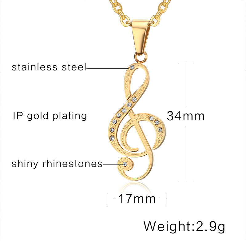 KISS MADNY Top Quality Stainless Steel Best Friends Personality Music Necklace Gold Color For Men OTN255
