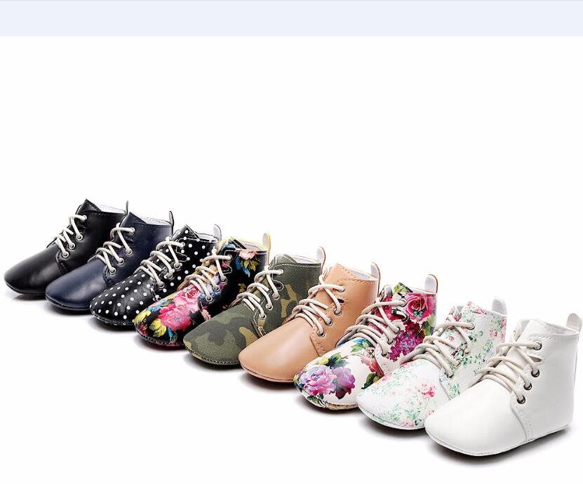 2019 New Lace Up Spring Shoes Artificial PU Leather High Top Infant Baby Boots Handmade Moccasins
