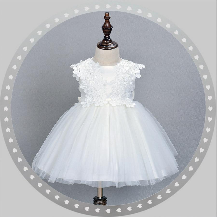 2021 formalne eleganckie 1 roku życia sukienka urodzinowa słodka dziewczynka biały party vestido ubrania dla niemowląt 0-24 miesięcy ABF164717