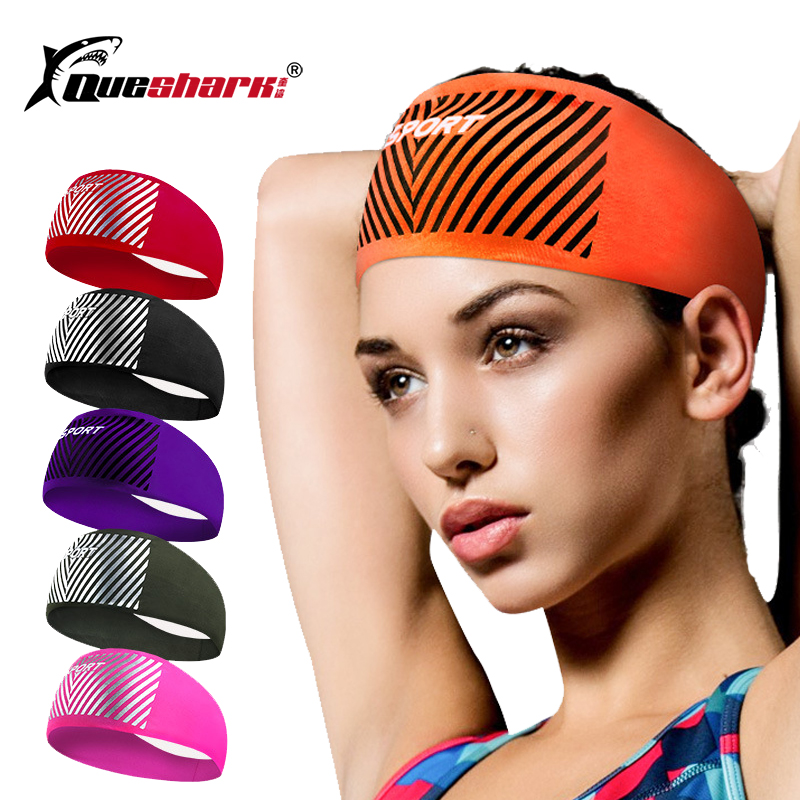 Queshark Elastic Cycling Headbands Sport Sweatband Riding Yoga Hair Bands Sports Women Men Safety Bandanas   Headwear