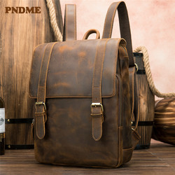 PNDME vintage crazy horse leather mens backpack large capacity genuine leather 14 inch laptop travel bookbag for women