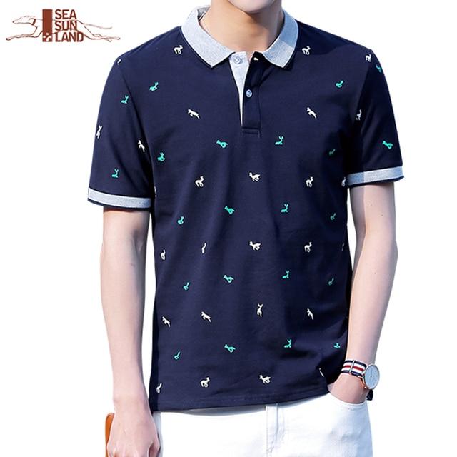 8535aaba0be8e SeaSunLand Polo Homens Da Camisa do Verão 100% Algodão Estampado Camisas  PÓLO Da Marca Camisas