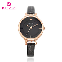 Kezzi Women Quartz Watch Fine Crystal Fine Leather Strap Ladies Watch Gold Plated Big Thin Dial