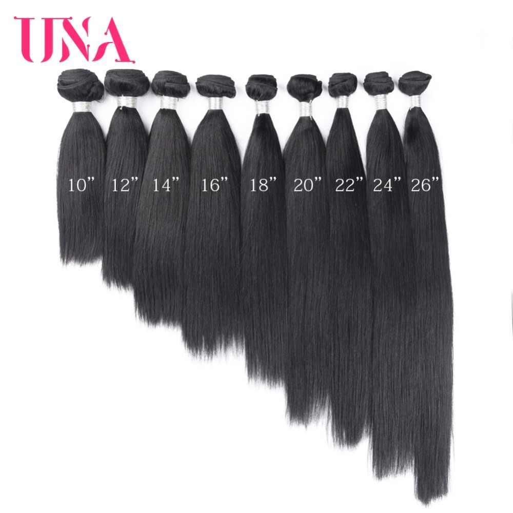 UNA İnsan Saç 1/3/4 Adet Renk # 1B Saç Brezilyalı Düz Remy Saç Atkı insan saçı örgüsü Demetleri 8-26 inç Ücretsiz Kargo