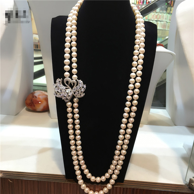 NEW Hot sell European American styles natural 8-9MM white baroque pearl necklace fashion jewelry 30inches