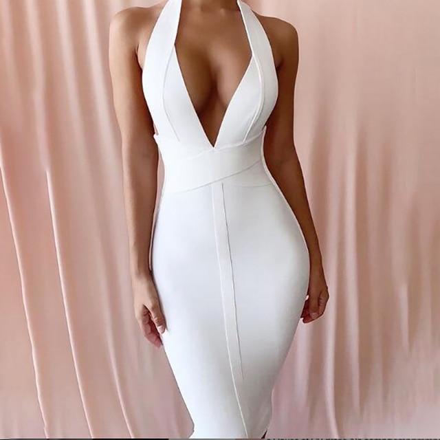 491e8d370d9 Halter Deep V Neck Sleeveless 2019 Women s High Quality Bodycon Midi  Dresses Sexy Bodycon White Bandage Dress