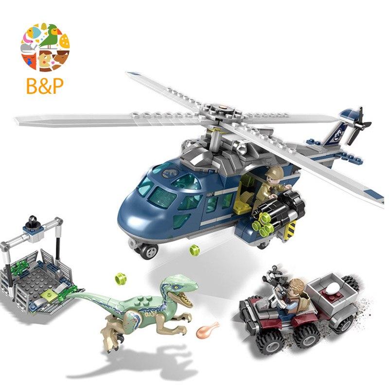 2018 legoing 75928 433pcs Jurassic Dinosaur Velociraptor Blue Helicopter Pursuit Building Block Toys For Children Lele1079 Gift