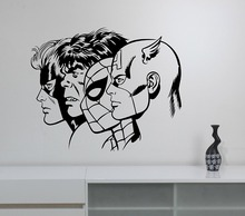 New arrival Superheroes Wall Decal Removable Vinyl Sticker Captain America Hulk Spiderman Art Decor Home Decals