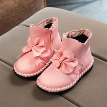 Girls Shoes Botas Children's Plush Boots Bowtie Rhinestones Kids Shoes Winter Leather Warm Snow Boots for Girls chaussure fille