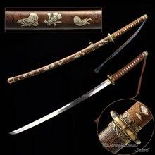 Kawashima-espada Katana de acero hecha a mano, hoja T10, tipo WWII 98, Oficial japonés, Sword Iron Saya con patrón