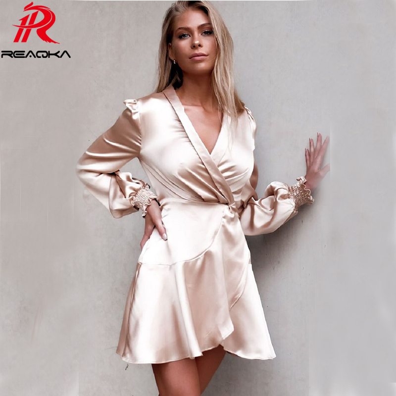 Detail Feedback Questions about Autumn Sexy bandage party Dress Women  befree Satin Bodycon summer Dress Elegant Nightclub Party Dresses Mini  Vestido clothes ... 4388c098aa57