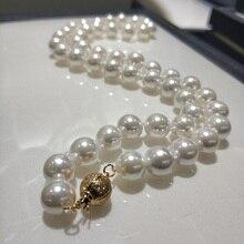 JYX жемчужное ожерелье в виде раковины, ювелирное изделие, 8-8,5 мм, Круглое Белое ожерелье из натурального морского жемчуга, 18 дюймов, ожерелье с высоким блеском