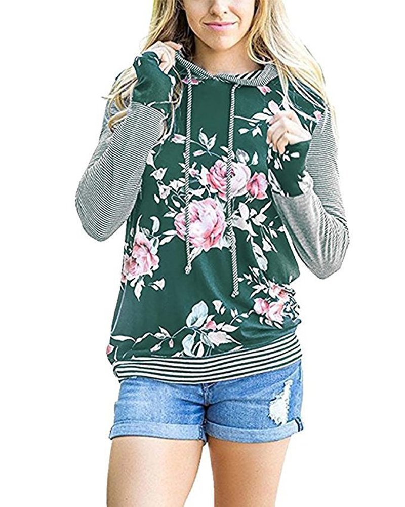 Women Hoodies Hooded Sweatshirts Ladies Spring Clothing Print Floral Classics Casual Female