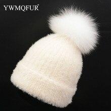 YWMQFUR invierno conejo Cachemira sombrero hecho punto las mujeres con bola  de piel de zorro Real c20c3e07d289