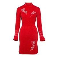 Sisjuly Hot Pencil Full Sleeve Women Dress 2017 Orange Red Embroidery Bodycon Autumn Female Work Dress