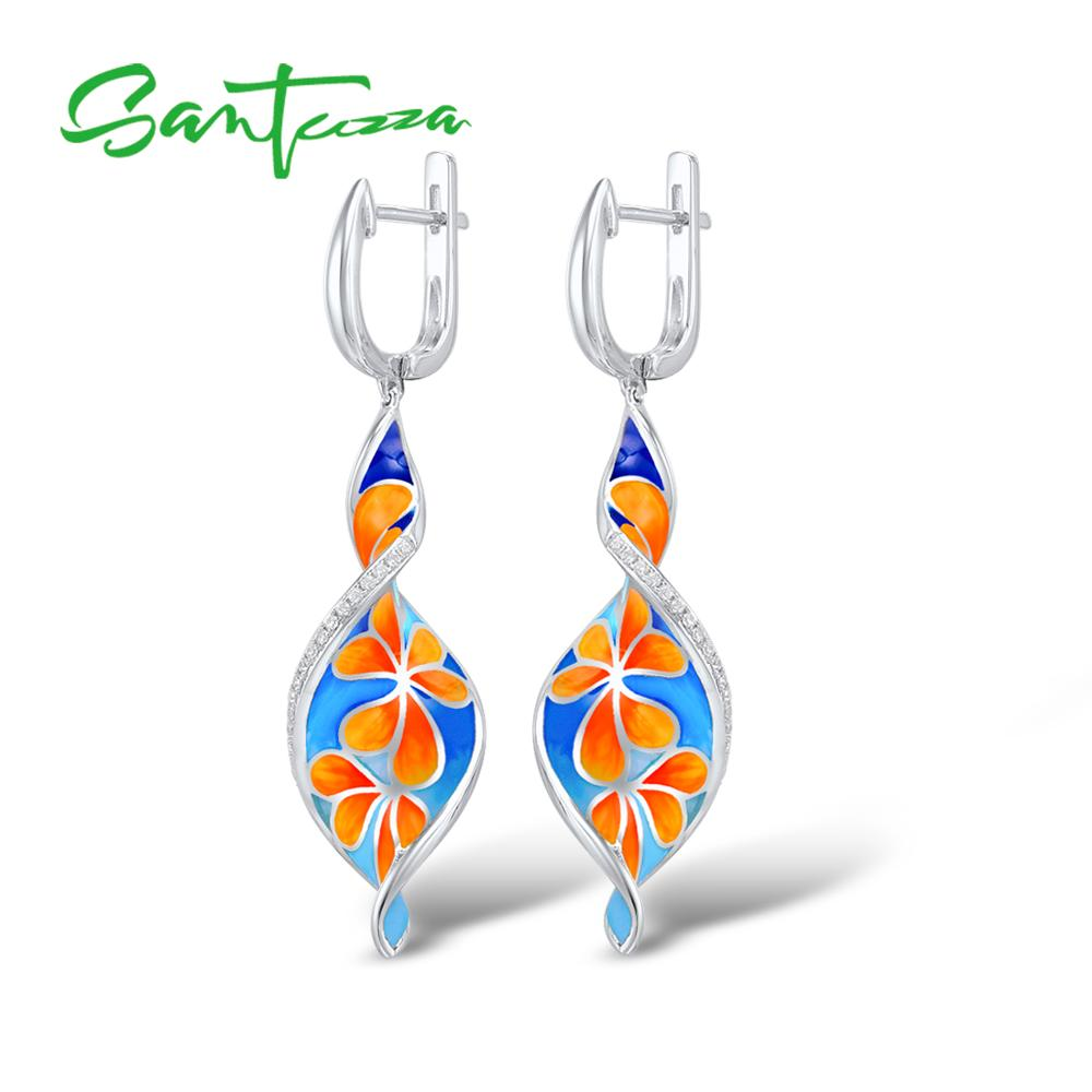 SANTUZZA Silver Earrings For Women 925 Sterling Silver Flower Drop Earrings Long Silver 925 White Cubic Zirconia Fashion Jewelry цена 2017