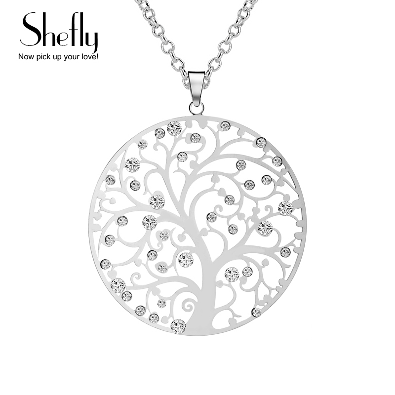 Hot Fashion Tree Of Life Collana con ciondolo per le donne Gioielli da sposa Colore argento di cristallo Lunga catena Collane Dropship
