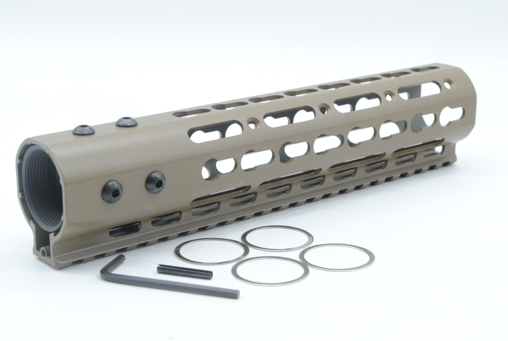 TriRock Tan / Flat Dark Earth 9 Inch Free Float NSR Super Slim Handguard Top Rail Keymod System One piece For AR-15 M4/M16