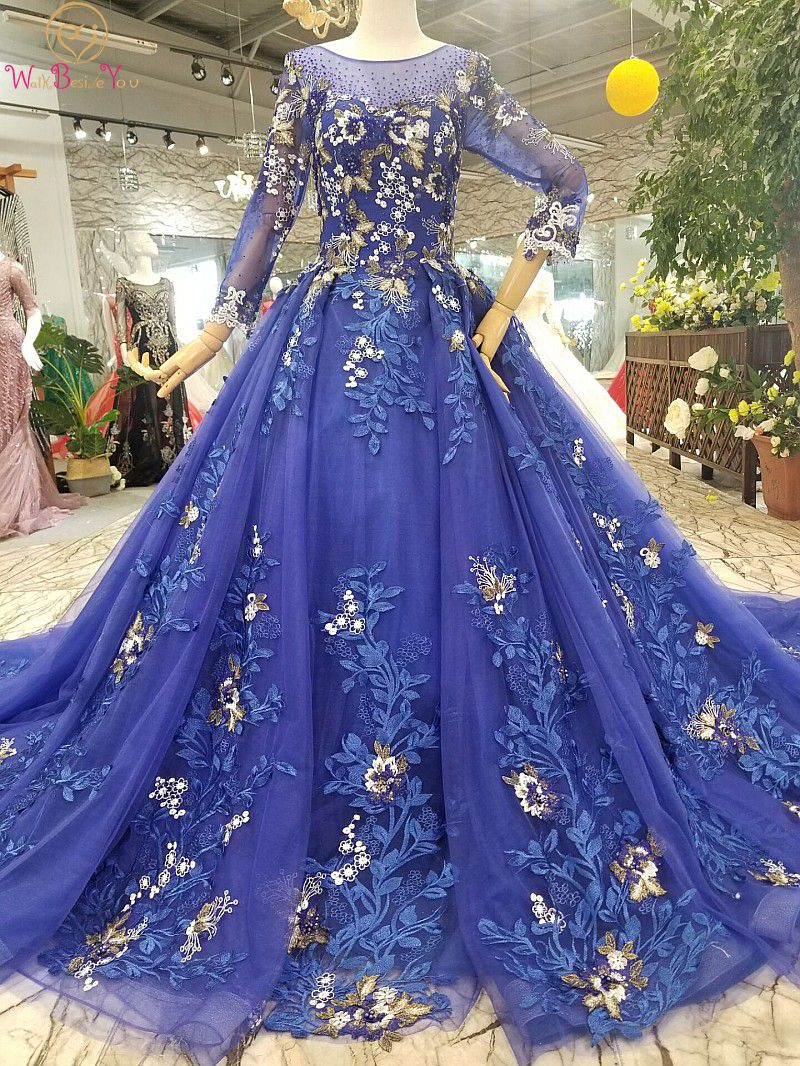 100% Real Photos Royal Blue   Prom     Dresses   Tulle Court Train Ball Gown Gold Lace Applique Pearl Crystal Evening Formal rochii 2019