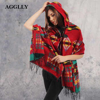 Ladies Winter Hooded Wrap Poncho Lush Cape Mantle Ponchos And Capes Aztec Outwear Casacos Femininos Tippet Ponchos Or Capes A50 - DISCOUNT ITEM  33% OFF All Category