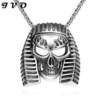 Top Quality Egyptian Skull Titanium 316L Stainless Steel Necklaces For Men Punk Style Pendant Necklace Wholesale