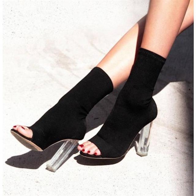 1e224546 € 27.73 |NUEVO 2018 Otoño botines mujer Botas Mujer zapatos de tacón peep  toes de La Moda Elástica transparente Tacones Elegang zapatos Mujer ...
