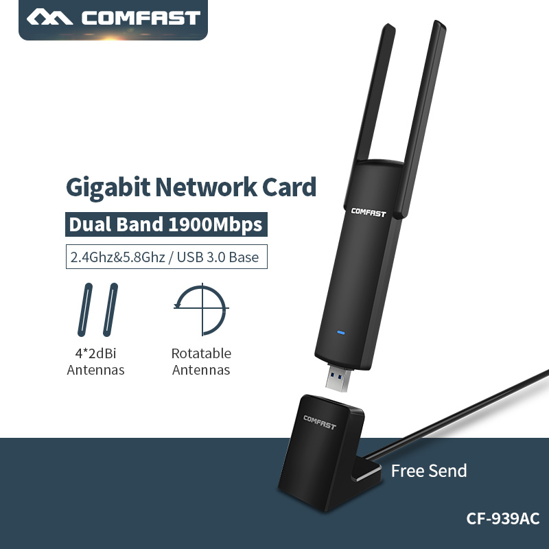 все цены на High Speed 1900mbps 5ghz usb wifi wireless adapter high gain 2*2dbi wifi antenna 2.4/5ghz 802.11ac usb 3.0 ethernet wi-fi adaper онлайн
