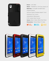 Love Mei Powerful Life Waterproof Shockproof Metal Aluminum Case Cover For Sony Xperia Z3 D6603 D6643
