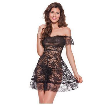 Nachthemd Unterkleider Vornehm Neue 2016 Frauen Sexy Dessous Hot Schwarz Spitze Slips Damen Sexy Off Schulter Full Slips Plus Größe M-xxxl