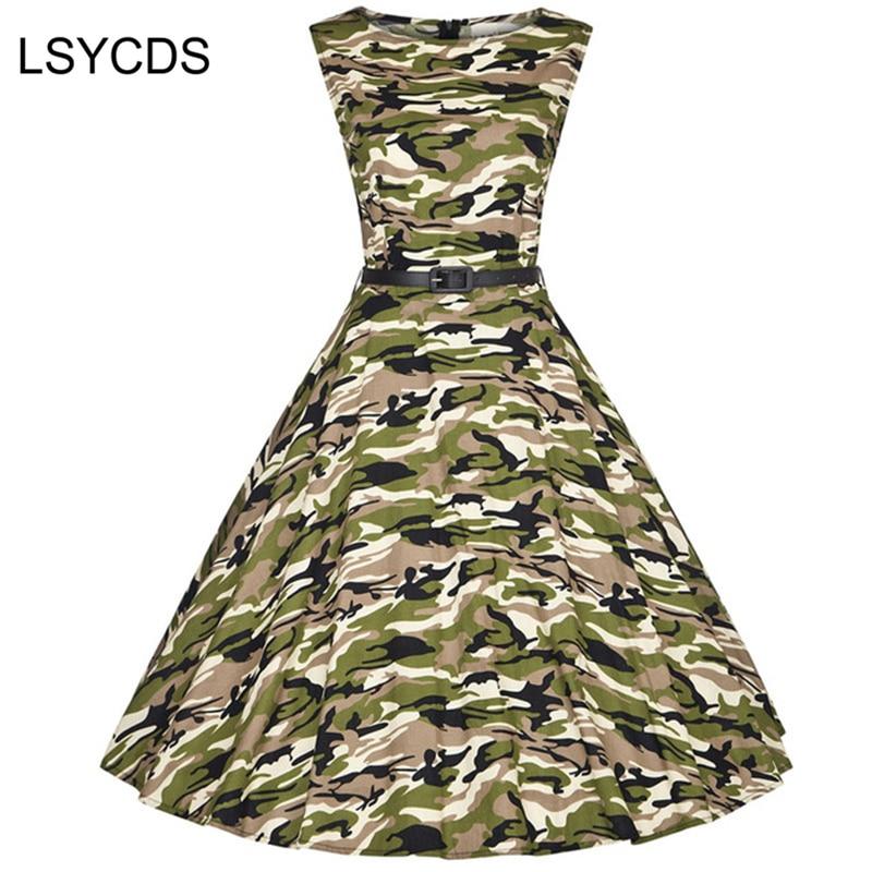 2018 Nők Ruha Hadsereg Zöld Nyár Audrey Hepburn 50-es évek 60-as évek Vintage ruhák Vestidos Plus méret Rockabilly Camouflage XS-4XL