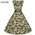2018 Women Dress Army Green Summer Audrey Hepburn 50s 60s Vintage Dresses Vestidos Plus Size Rockabilly Camouflage XS-4XL