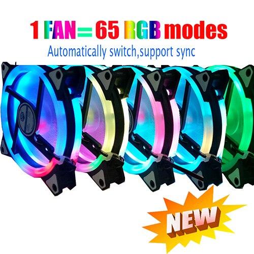 12 моделей многоцветный RGB чехол с круговым охлаждением 2 кольца cpu светодиодный вентилятор 120 мм 12 см RGB светодиодный ring для компьютера кулер для воды радиатор - Цвет лезвия: 65mode RGB automatic