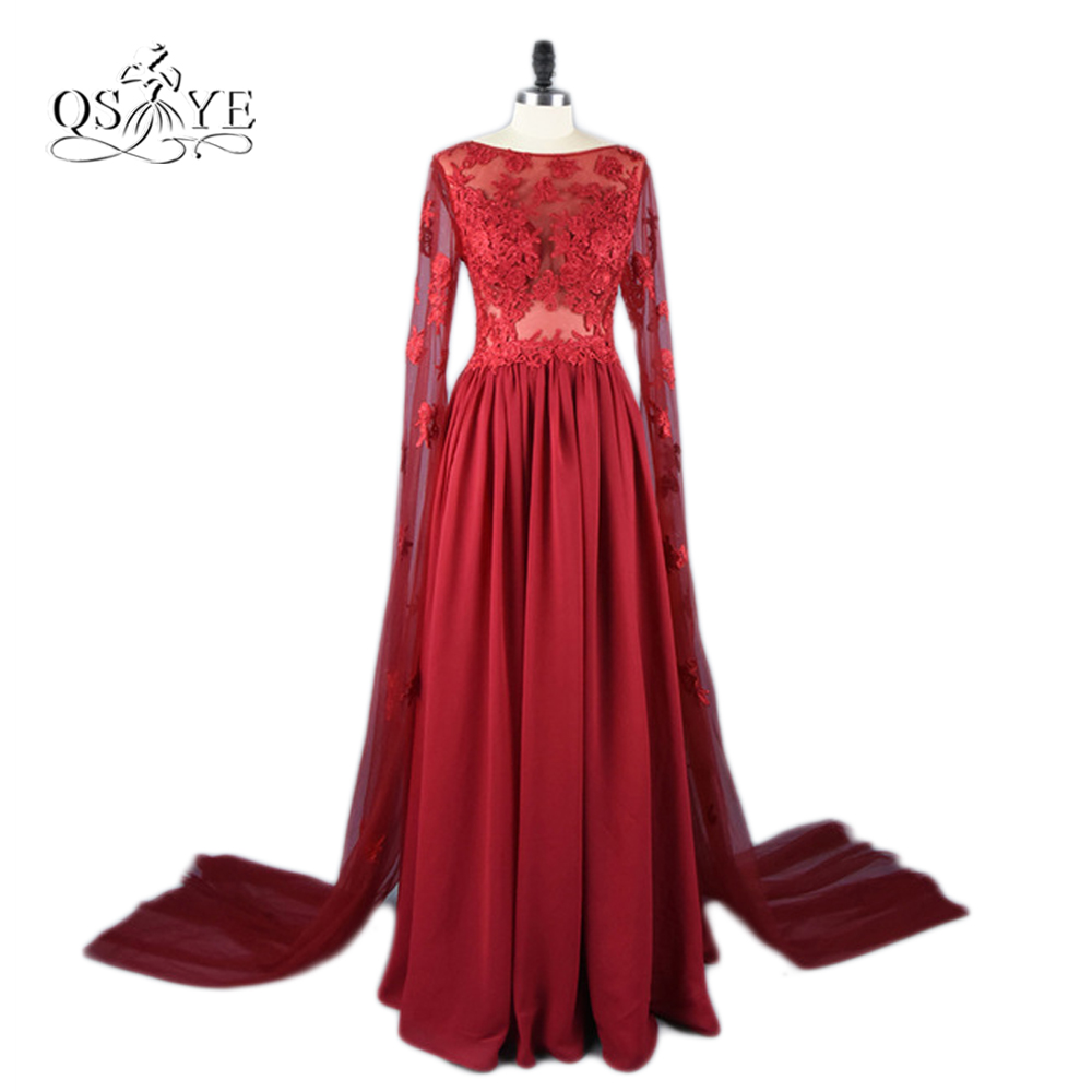 Real Photo 2017 Arabic Burgundy Evening Dresses Sheer Boat Neck Long Sleeves Chiffon Special Occasion Party Dress Evening Gowns