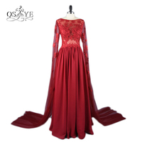 Real Photos 2017 Arabic Burgundy Evening Dresses Sheer Boat Neck Long Sleeves Chiffon Special Occasion Party