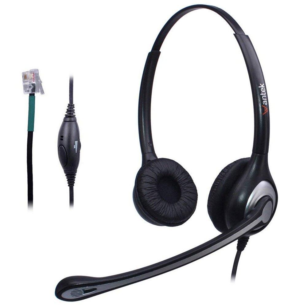 Wantek Amarrado Telefone Headset Dual w/Microfone com Cancelamento de Ruído para Adtran Lucent AltiGen Comdial Digium MiVoice Telefone Fixo telefones de Mesa